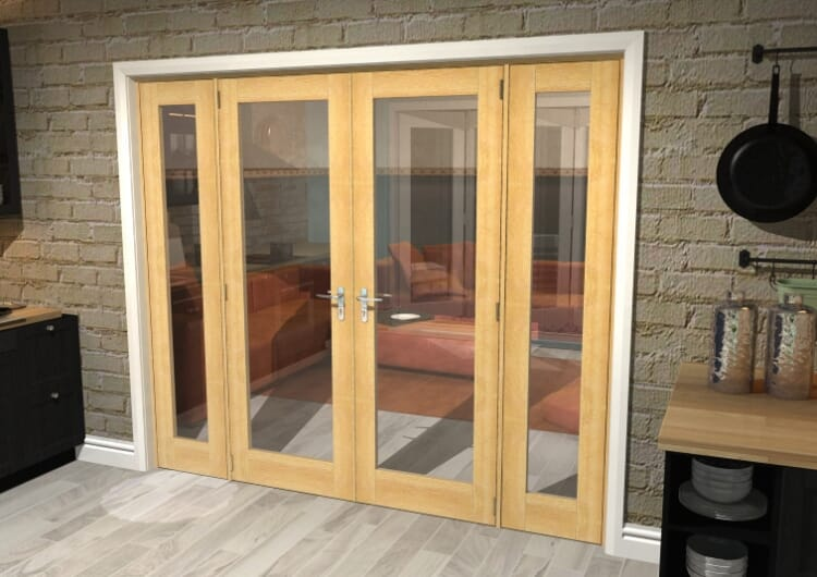 "Oak Prefinished French Door Set  - 27"" Pair + 2 X 15"" Sidelights Image"