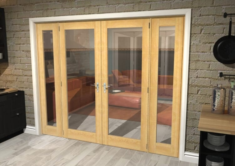 "Oak Prefinished French Door Set  - 30"" Pair + 2 X 16.5"" Sidelights Image"