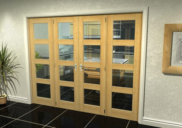 "Oak 4l French Door Set  - 24"" Pair + 2 X 16.5"" Sidelights Image"