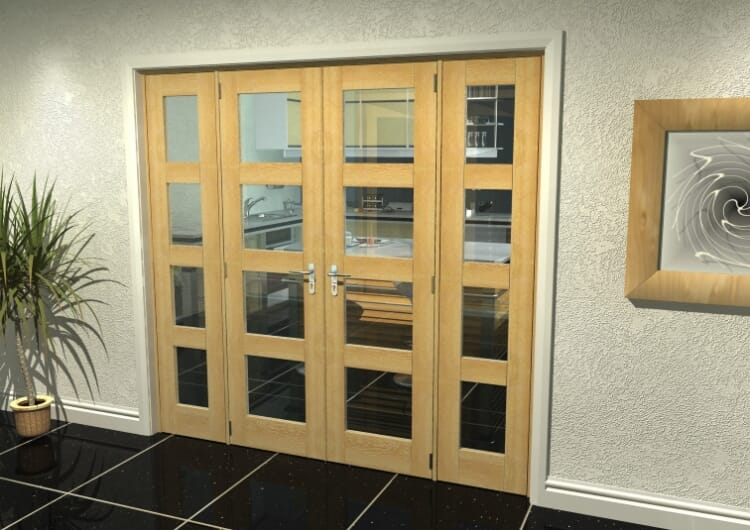 "Oak 4l French Door Set  - 24"" Pair + 2 X 18"" Sidelights Image"