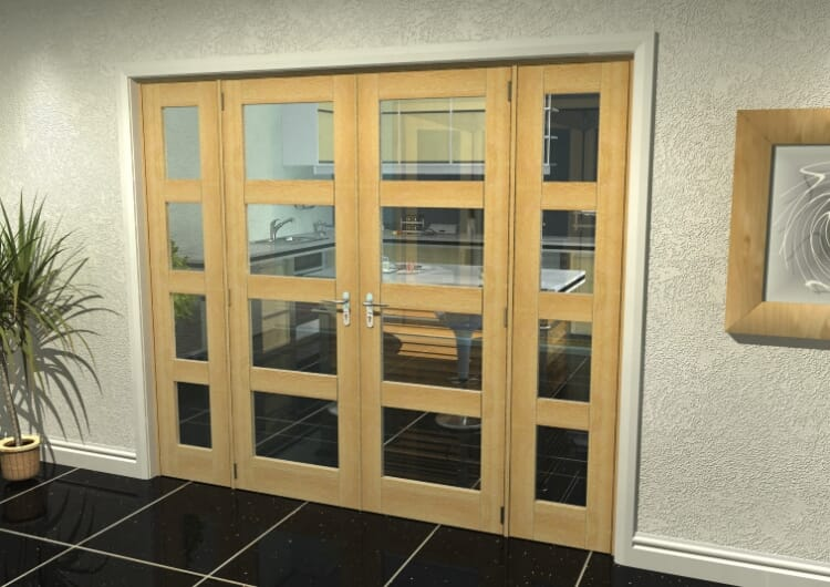 "Oak 4l French Door Set  - 27"" Pair + 2 X 18"" Sidelights Image"