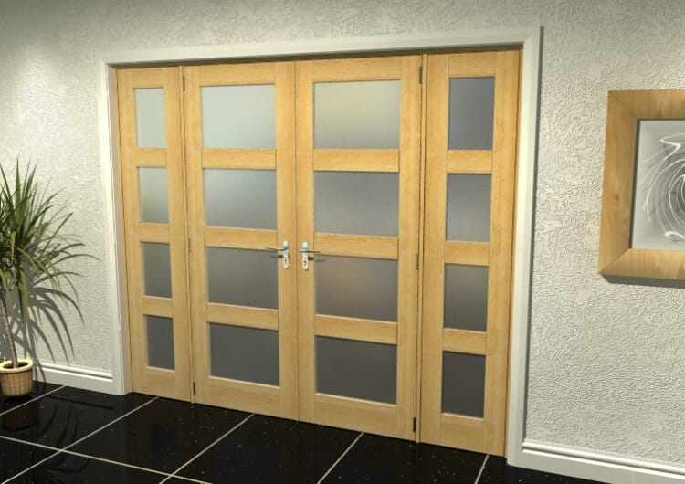 """4l Frosted Oak French Door Set - 27"""" Pair + 2 X 21"""" Sidelights Image"""