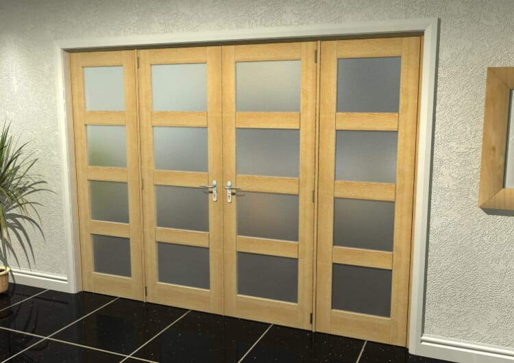 """4l Frosted Oak French Door Set - 27"""" Pair + 2 X 24"""" Sidelights Image"""