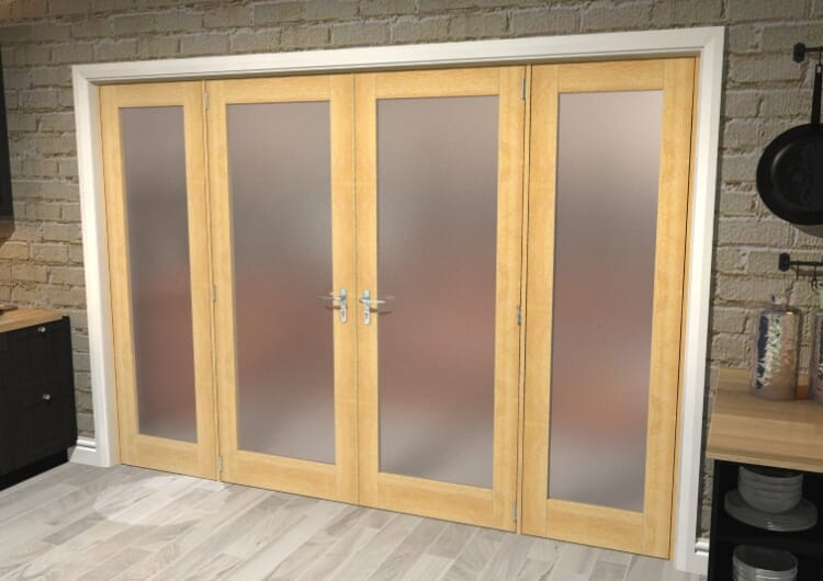 """Obscure Oak French Door Set - 30"""" Pair + 2 X 24"""" Sidelights Image"""