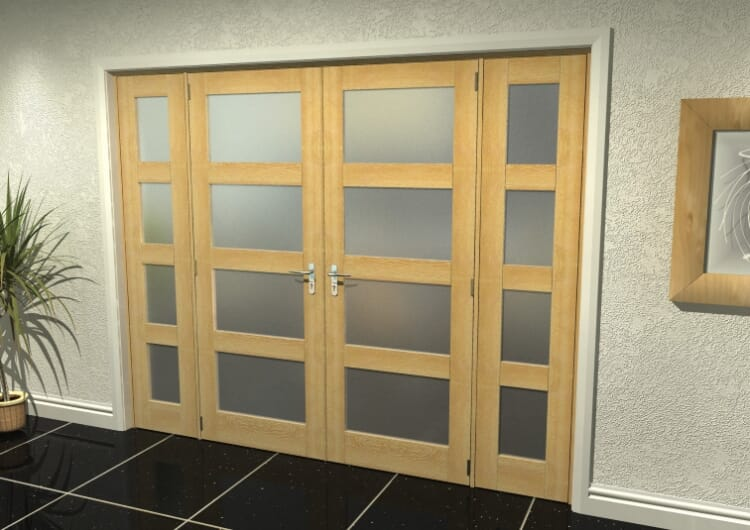 """4l Frosted Oak French Door Set - 30"""" Pair + 2 X 21"""" Sidelights Image"""