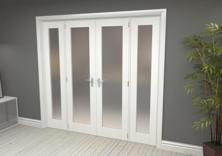 "Obscure White French Door Set  - 21"" Pair + 2 X 15"" Sidelights Image"