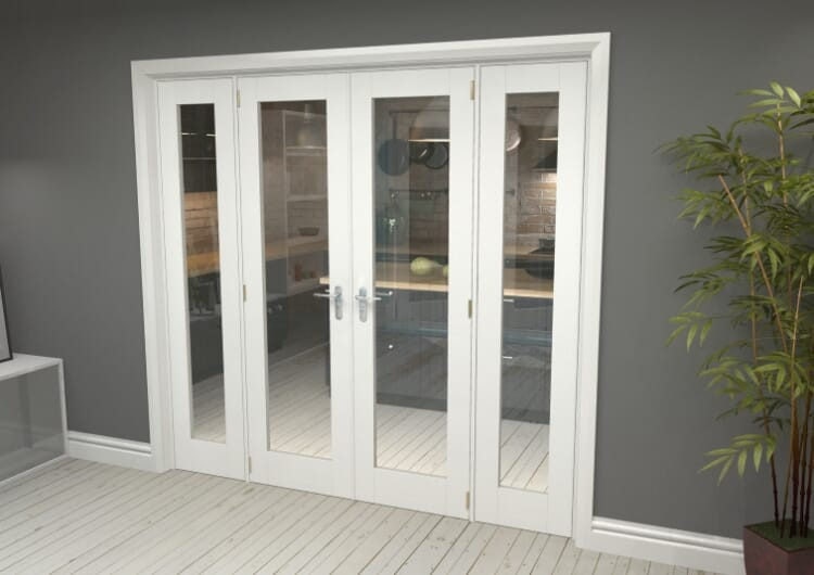 """P10 White French Door Set  - 24"""" Pair + 2 X 15"""" Sidelights Image"""