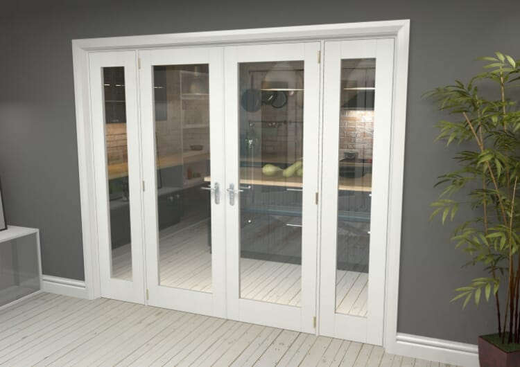 """P10 White French Door Set  - 27"""" Pair + 2 X 15"""" Sidelights Image"""