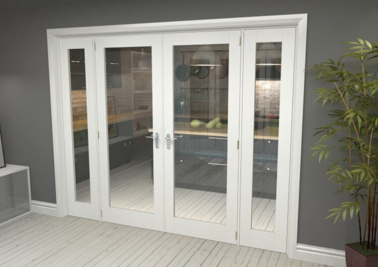 "P10 White French Door Set  - 30"" Pair + 2 X 16.5"" Sidelights Image"