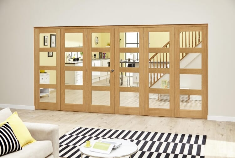 Oak 4l - 6 Door Roomfold Deluxe (3 + 3 X 610mm Doors) Image