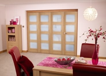 Oak 4l Shaker Glazed Roomfold ( 4 X 1