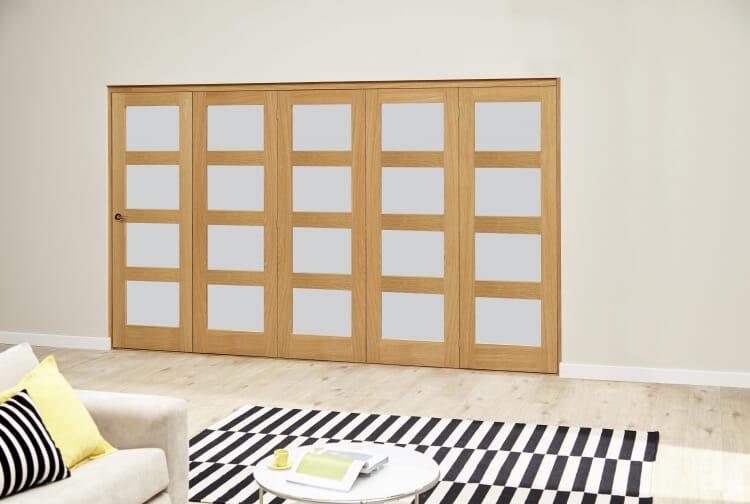 Oak 4l Shaker Glazed Roomfold Deluxe (5 X 762mm Doors) Image