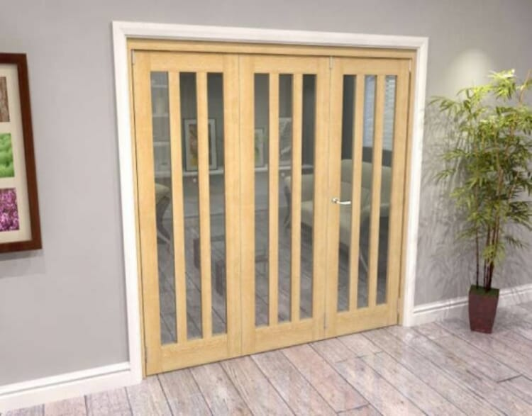 Oak Aston Glazed 3 Door Roomfold Grande (2 + 1 X 762mm Doors) Image