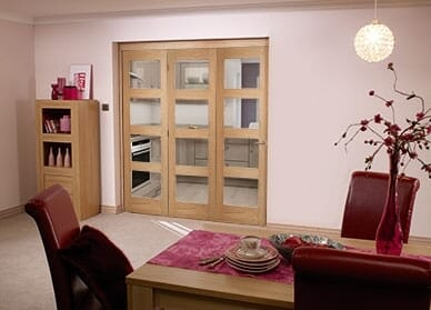 Oak Prefinished 4 Light Bifold Door ( 3 X 2