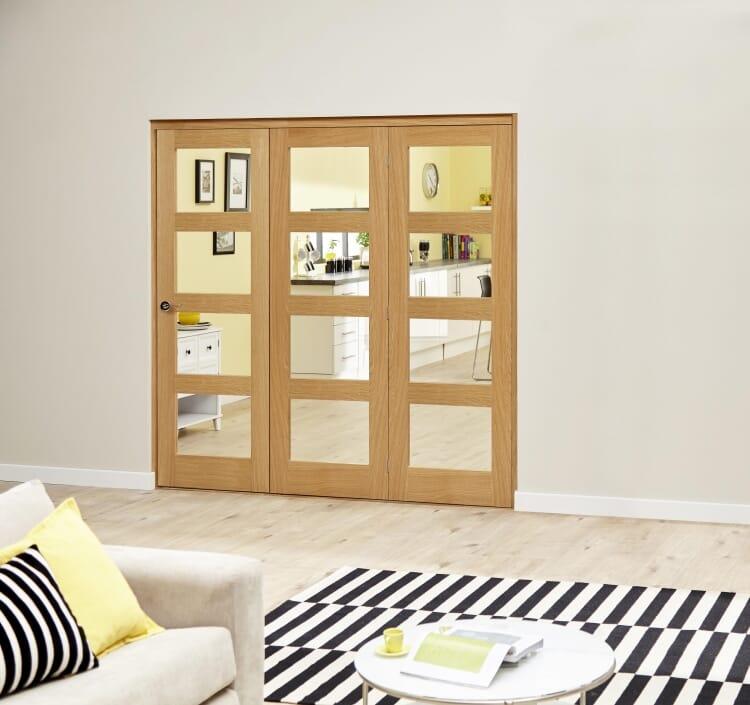 Oak Prefinished 4l Roomfold Deluxe ( 3 X 686mm Doors) Image