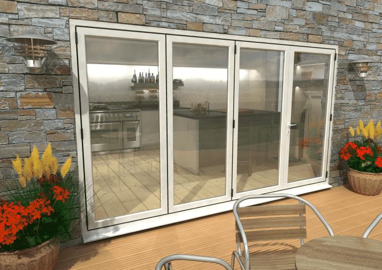 Part Q 3600mm ( 3 + 1 ) White Aluminium Bifold Doors - Climadoor Image
