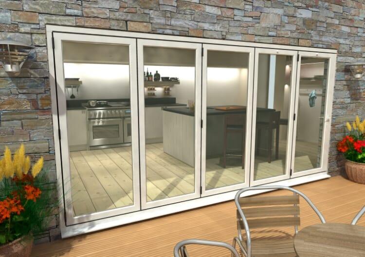Part Q 4200mm ( 5 + 0 ) White Aluminium Bifold Doors - Climadoor Image