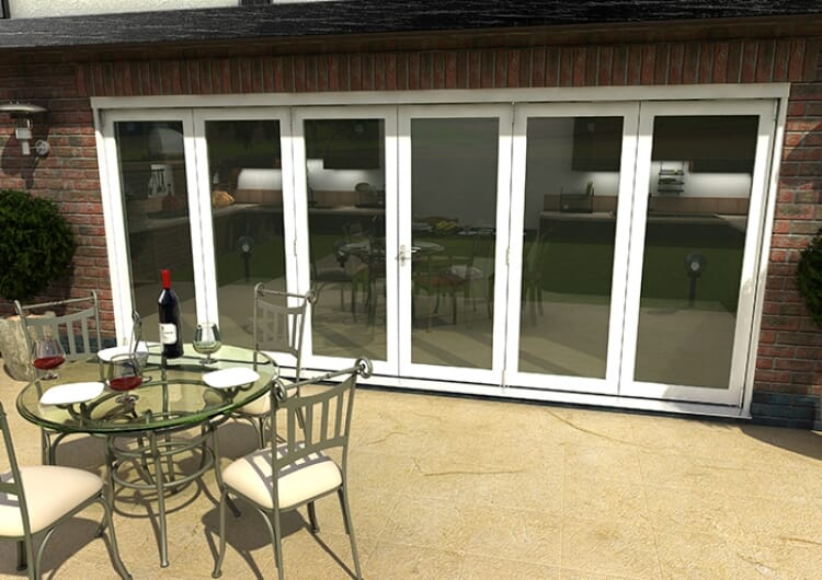 Part Q 4800mm ( 3 + 3 ) White Aluminium Bifold Doors - Climadoor Image