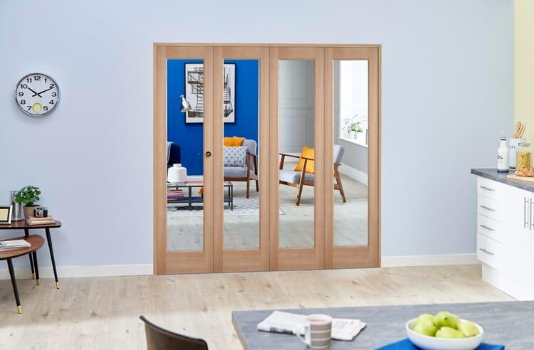 Slimline Glazed Oak 4 Door Roomfold Deluxe ( 4 X 381mm Doors ) Image