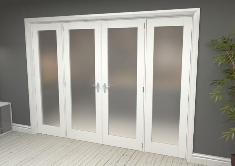 """Obscure White French Door Set  - 24"""" Pair + 2 X 18"""" Sidelights Image"""