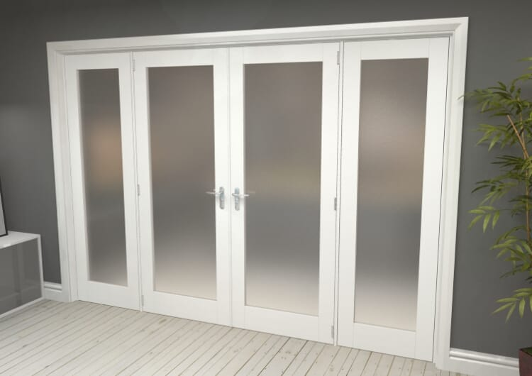 """Obscure White French Door Set - 30"""" Pair + 2 X 21"""" Sidelights Image"""