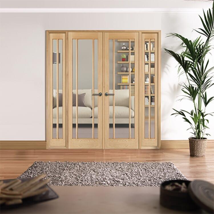 W6 Lincoln Oak Internal Room Divider Set With Sidelights Image