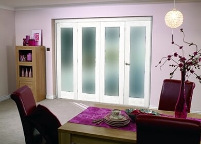 """White Bifold 4 Door System ( 4 X 27"""" Doors ) Frosted. Image"""