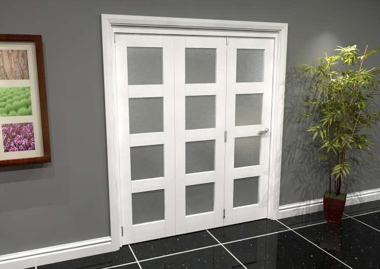 White Frosted 4l Roomfold Grande 1800mm (6ft) 3 + 0 Set Image
