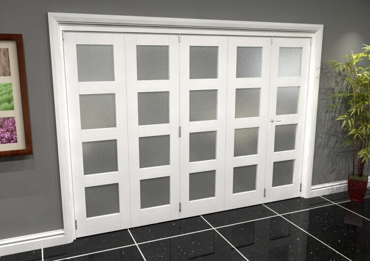 White Frosted 4l Roomfold Grande (4 + 1 X 686mm Doors) Image