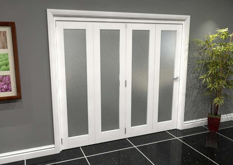 White P10 Frosted Roomfold Grande 2400mm (8ft) 4 + 0 Set Image