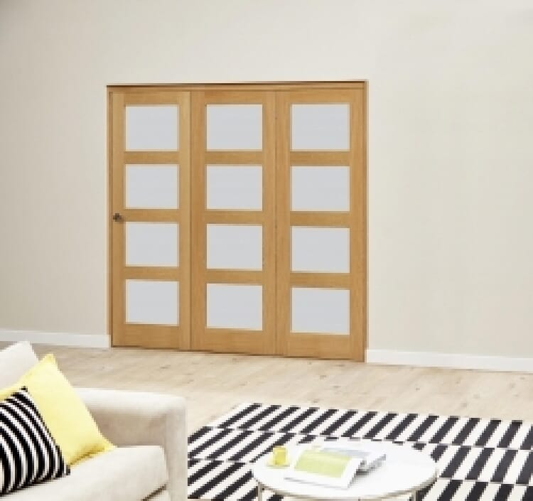 Oak 4l Shaker Glazed Roomfold Deluxe 3 Door 1794mm X 2078mm ( 1800mm Set ) Image