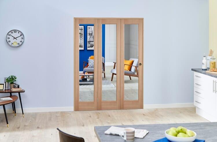 Slimline Glazed Oak 3 Door Roomfold Deluxe ( 3 X 419mm Doors ) Image