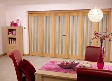 Aston Oak Frosted - 6 Door Roomfold (3+3 X 2