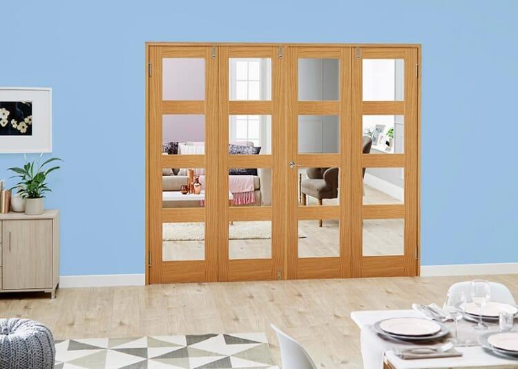 Clear Glazed Oak Unfinished 4l 4 Door Shaker Frenchfold (4 X 2