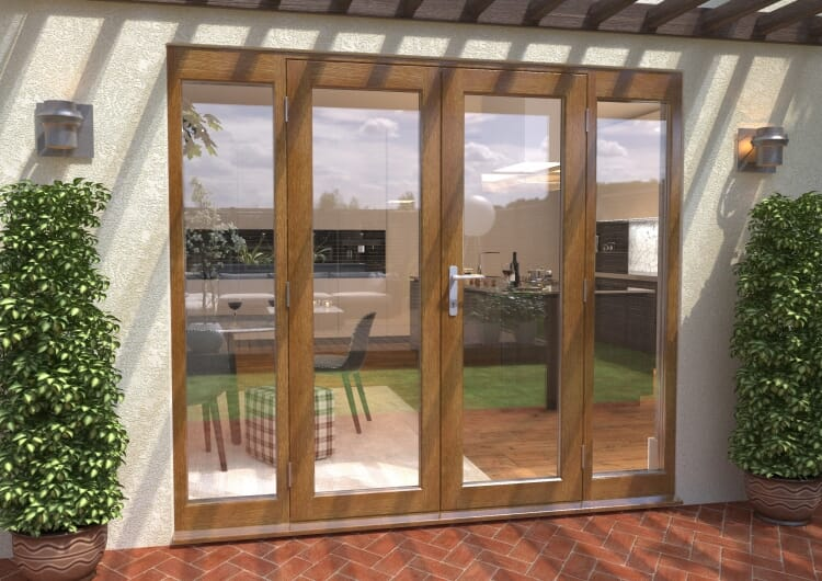 Climadoor Solid Oak French Doors 1500 Pair With 2 X 450mm Sidelights Image