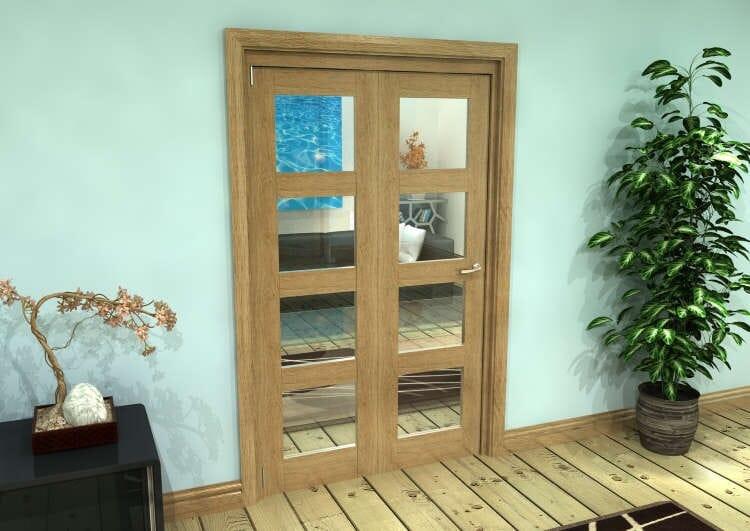Glazed Oak Prefinished 2 Door 4l Roomfold Grande (2 + 0 X 573mm Doors) Image