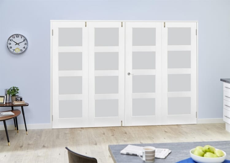 Frosted Glass White Primed Shaker Frenchfold 4l  4 Door (4 X 1