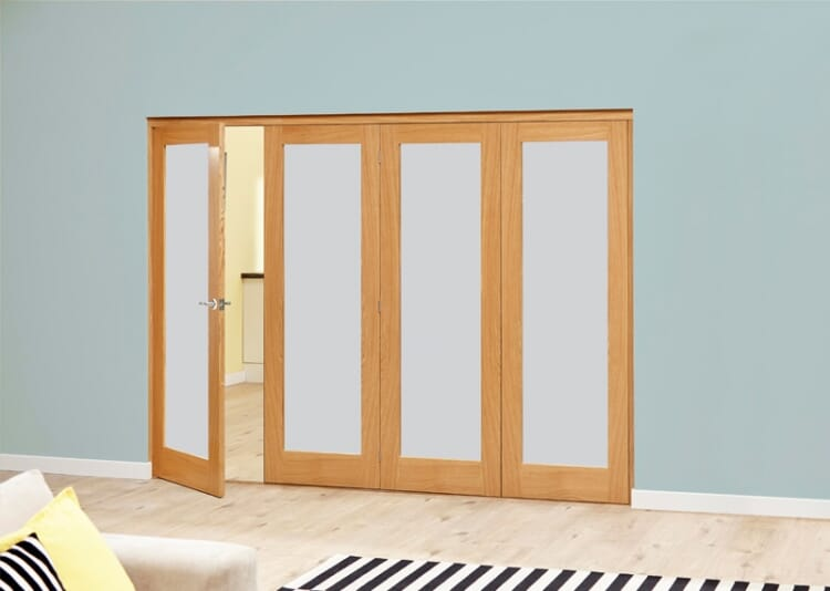Frosted Glazed Oak - 4 Door Roomfold Deluxe (4 X 2