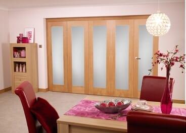 Frosted Glazed Oak - 5 Door Roomfold (5 X 2