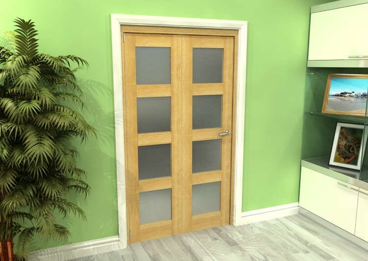 Frosted Glazed Oak 2 Door 4l Roomfold Grande (2 + 0 X 533mm Doors) Image
