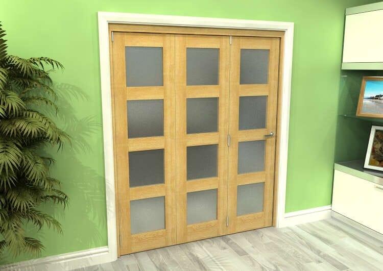 Frosted Glazed Oak 3 Door 4l Roomfold Grande 1800mm (6ft) 3 + 0 Set Image