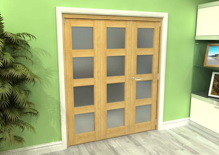 Frosted Glazed Oak 3 Door 4l Roomfold Grande (2 + 1 X 610mm Doors) Image