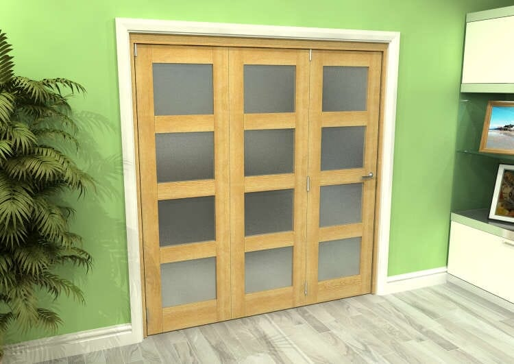Frosted Glazed Oak 3 Door 4l Roomfold Grande (3 + 0 X 610mm Doors) Image