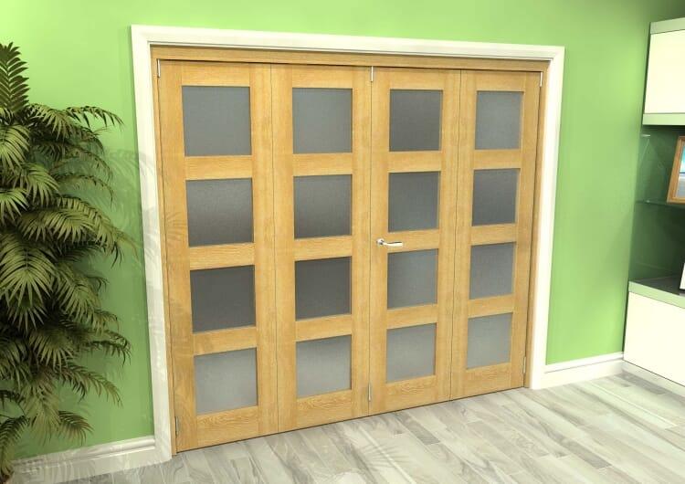 Frosted Glazed Oak 4 Door 4l Roomfold Grande 2400mm (8ft) 2 + 2 Set Image