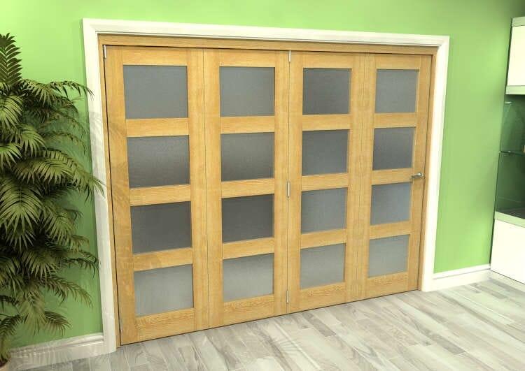 Frosted Glazed Oak 4 Door 4l Roomfold Grande 2400mm (8ft) 4 + 0 Set Image