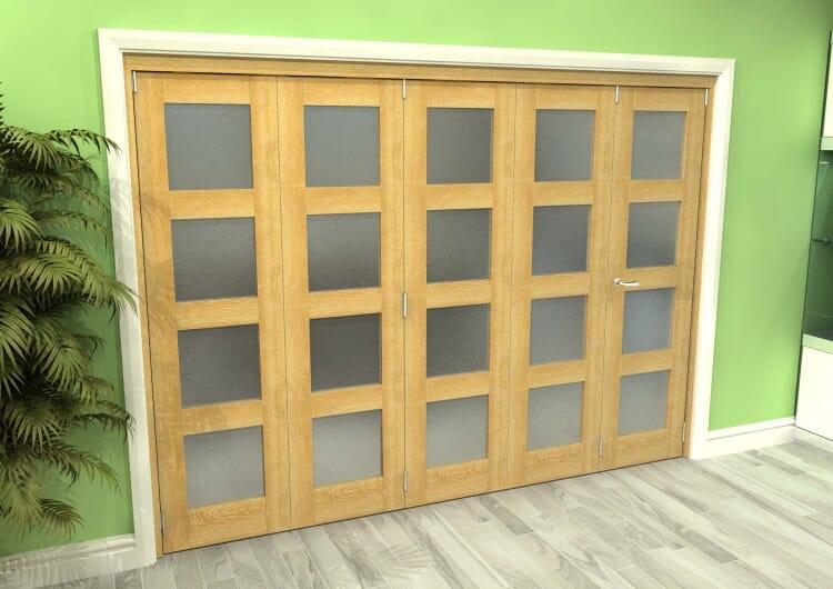Frosted Glazed Oak 5 Door 4l Roomfold Grande (4 + 1 X 533mm Doors) Image