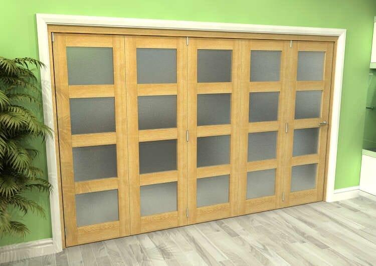 Frosted Glazed Oak 5 Door 4l Roomfold Grande (5 + 0 X 686mm Doors) Image