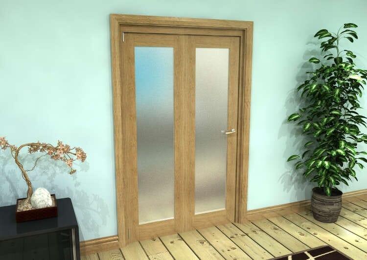 Frosted Glazed Oak Prefinished 2 Door Roomfold Grande (2 + 0 X 573mm Doors) Image