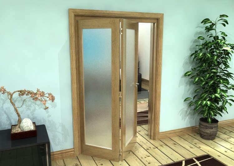 Frosted Glazed Oak Prefinished 2 Door Roomfold Grande (2 + 0 X 610mm Doors) Image