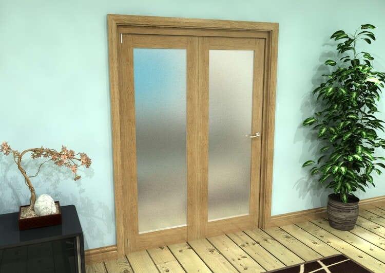 Frosted Glazed Oak Prefinished 2 Door Roomfold Grande (2 + 0 X 686mm Doors) Image